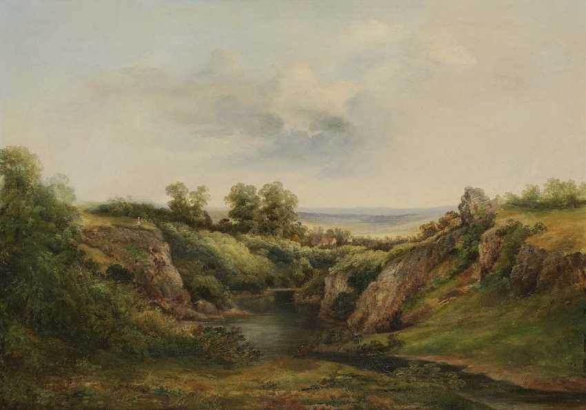 Monogram dung C. T.. pond in a hilly landscape with Staffagen - photo 1
