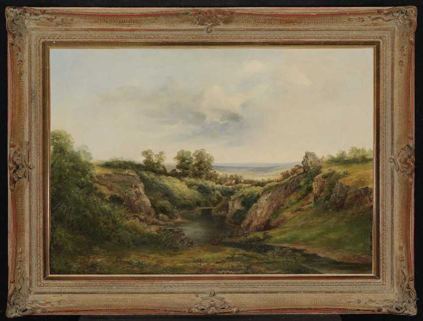 Monogram dung C. T.. pond in a hilly landscape with Staffagen - photo 2