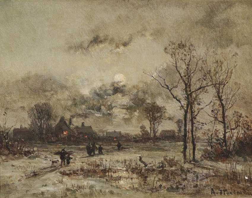 STADE MAN, ADOLF. Winter village landscape in the moonlight - photo 1