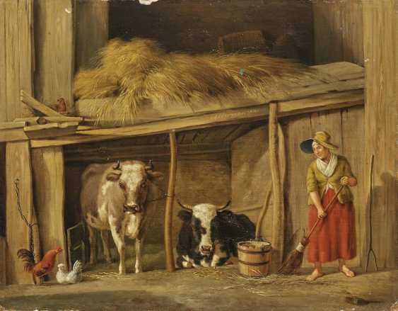 OBERMAN ANTONIS. Farmer's wife with cows in the barn - photo 1