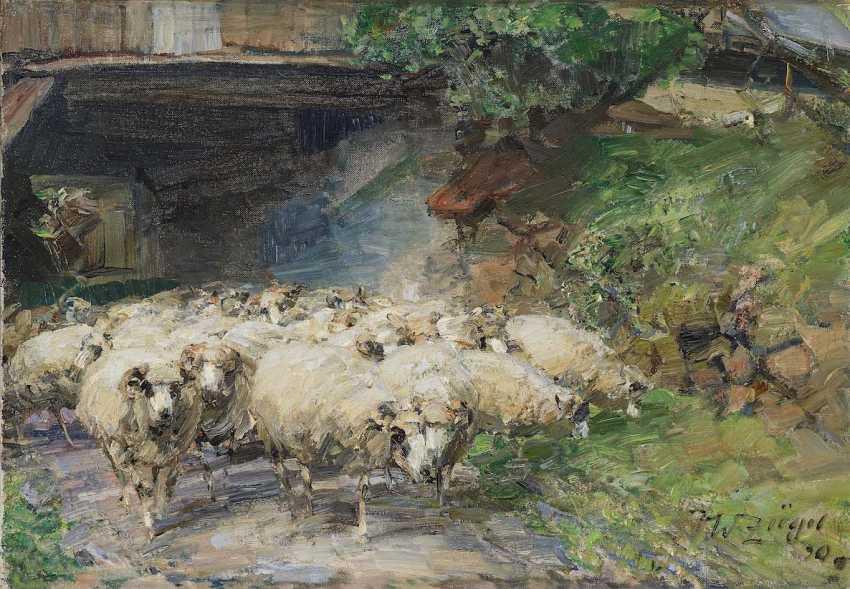 Zügel, Heinrich von. Wolkenhof - flock of sheep on the way through the drive-through - photo 1