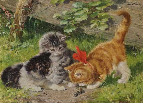 ADAM D. J., JULIUS. Three kittens with a snail - photo 1
