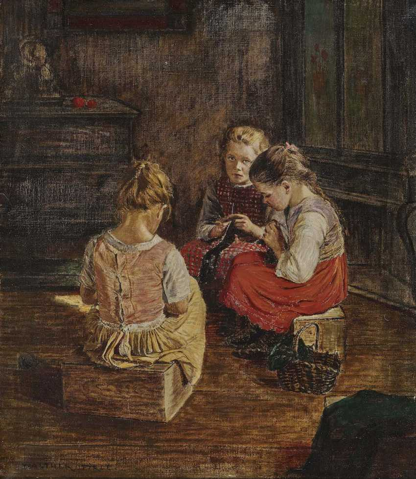 FIRLE, WALTHER. Three knitting girl - photo 1