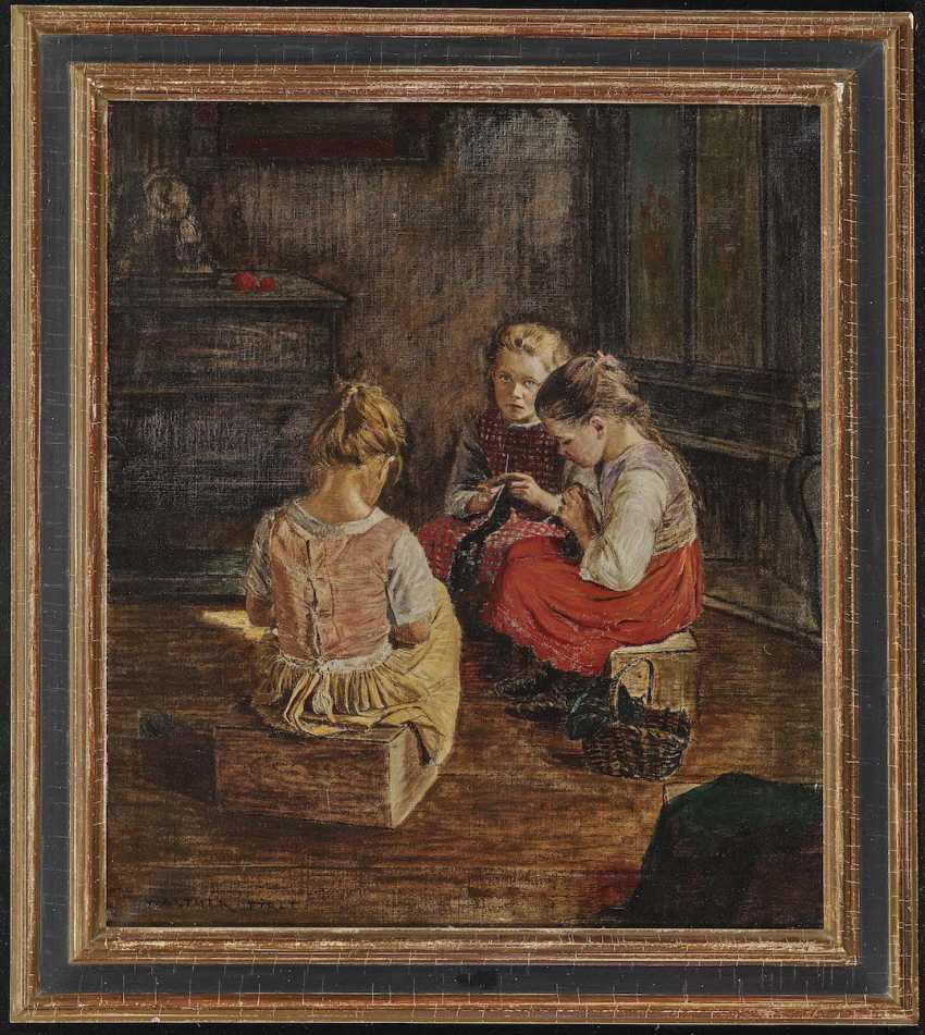 FIRLE, WALTHER. Three knitting girl - photo 2