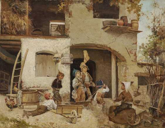 Italy (Domenico Induno, in 1815, Milan - 1878 ibid, ?). The end of the game the boys in front of the farmhouse - photo 1