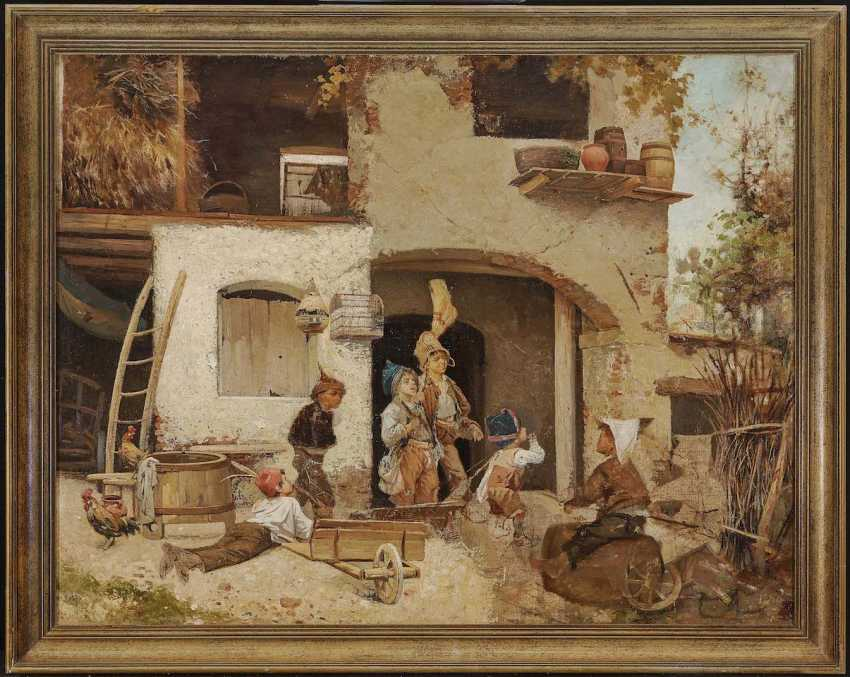 Italy (Domenico Induno, in 1815, Milan - 1878 ibid, ?). The end of the game the boys in front of the farmhouse - photo 2