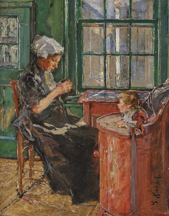 Kuehl, Gotthardt. Dutch seamstress with a child at the window - photo 1