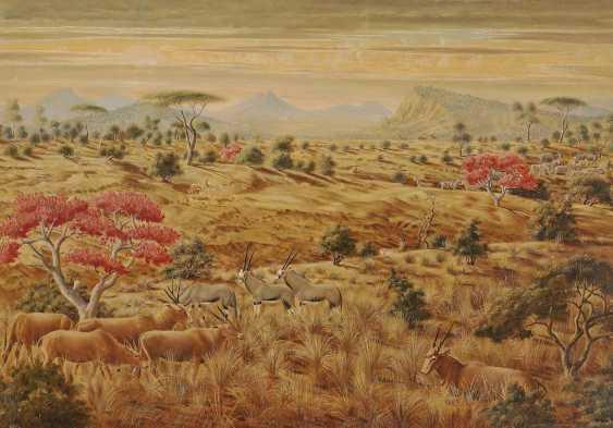 Peiner, Werner. African landscape with antelopes and Zebras - photo 1