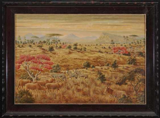 Peiner, Werner. African landscape with antelopes and Zebras - photo 2