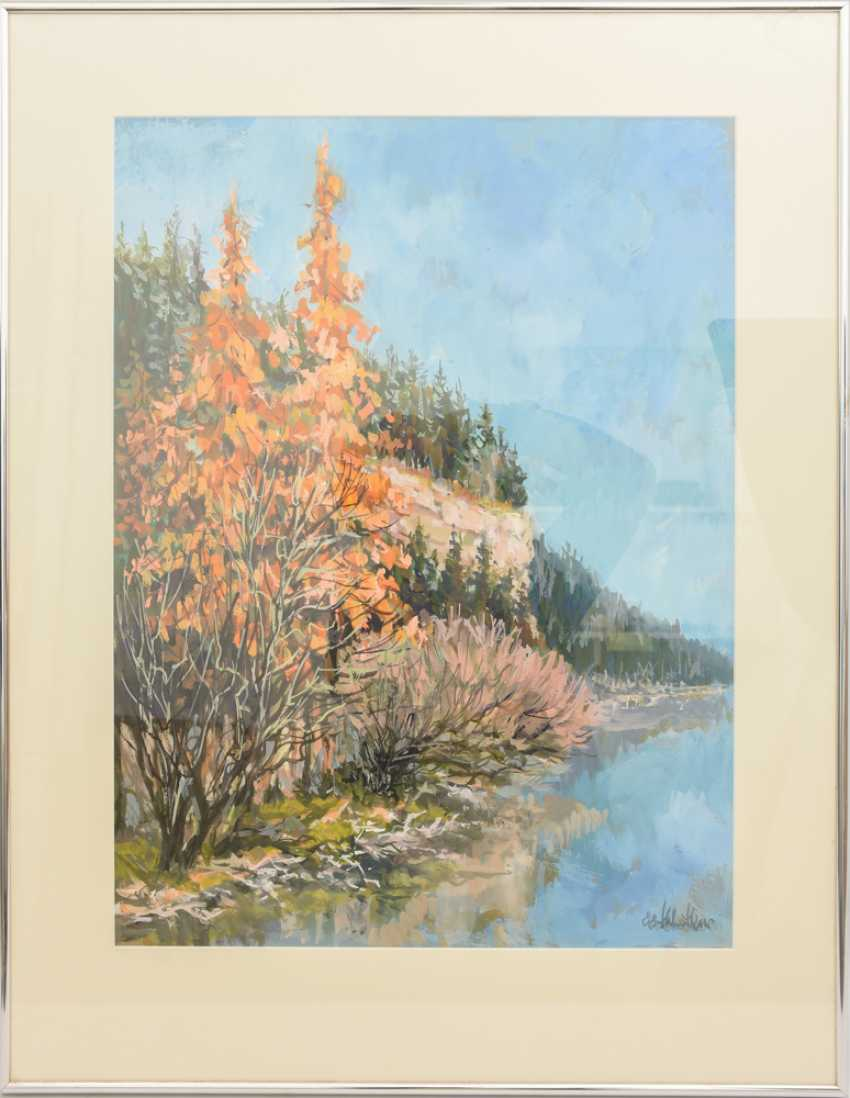 """HELMUT SIESSER, """"autumn landscape"""", watercolor/Gouache on paper, behind glass framed, signed and dated - photo 1"""