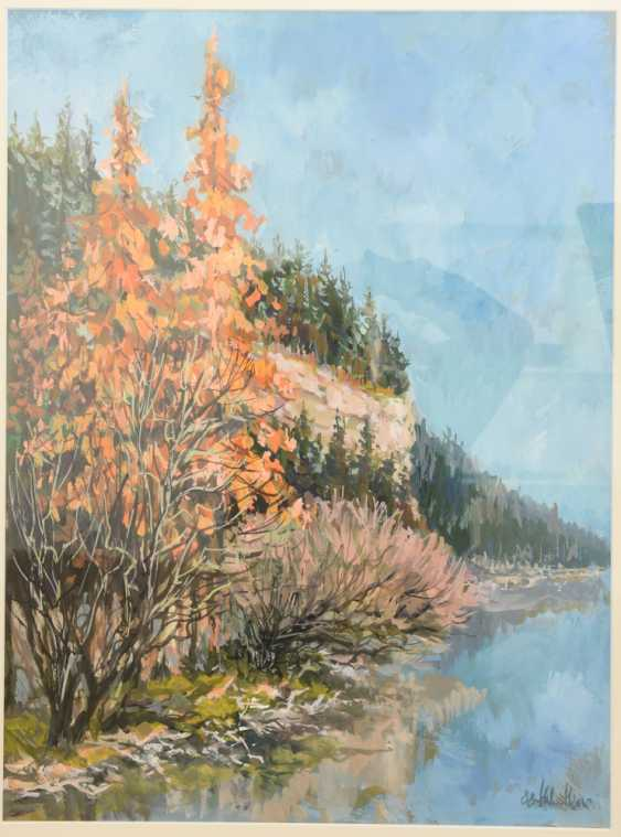 """HELMUT SIESSER, """"autumn landscape"""", watercolor/Gouache on paper, behind glass framed, signed and dated - photo 3"""