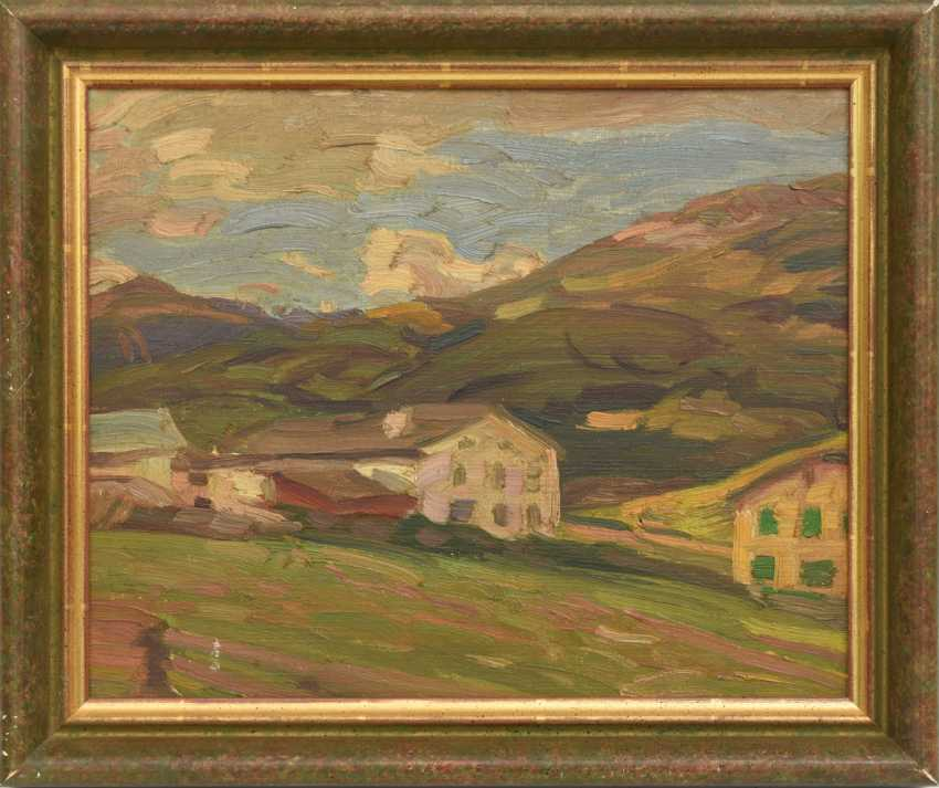 "WILHELM RUPPRECHT, ""landscape in Graubünden/Austria"", Oil on fiberboard, framed, 1930 - photo 1"