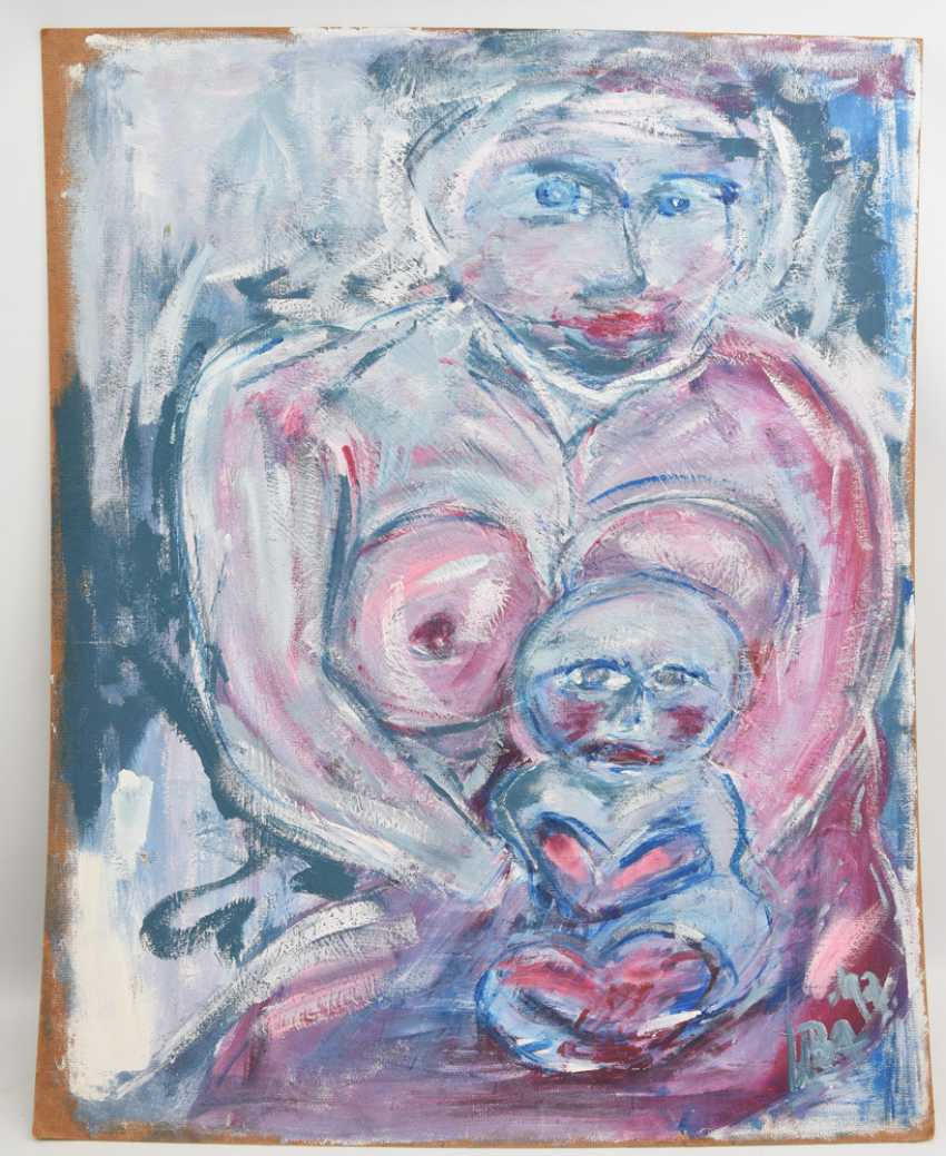 "UNKNOWN ARTIST: ""woman with child"", acrylic on chipboard, signed and dated - photo 1"