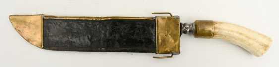Huntsman knife/BRAXE, stag, leather, brass,steel, Bayern 2. Half of the 19th century. Century - photo 1