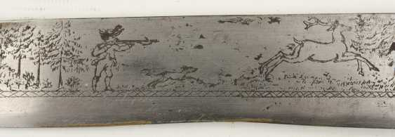 Huntsman knife/BRAXE, stag, leather, brass,steel, Bayern 2. Half of the 19th century. Century - photo 3