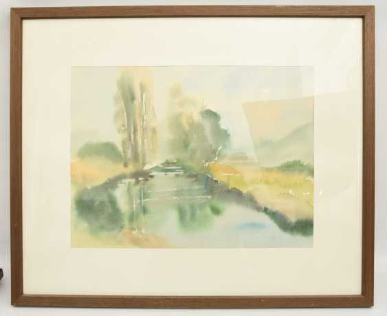 """WILHELM LUIBreite:""""river"""", behind glass framed, signed and dated - photo 1"""