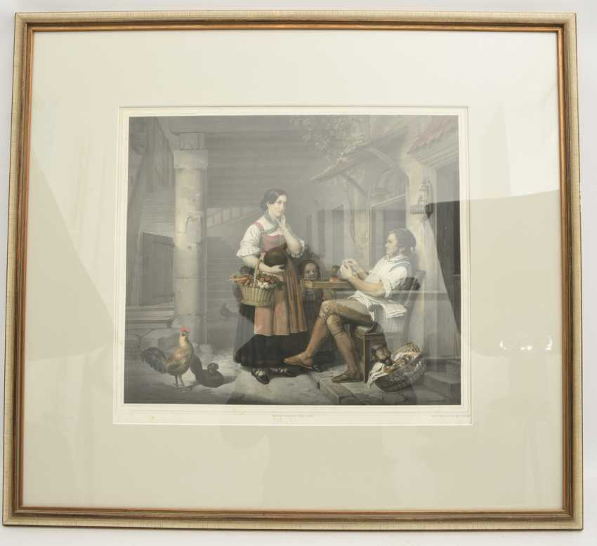 """""""Peasant family AT the VESPER"""", a polychrome print after J. Woelfle, behind glass framed, mid-19th century. Century - photo 1"""