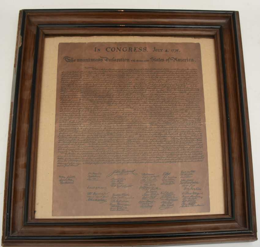 """DECLARATION OF INDEPENDENCE""; Congress paper Reprint/copy, behind glass framed, 19. Century - photo 1"