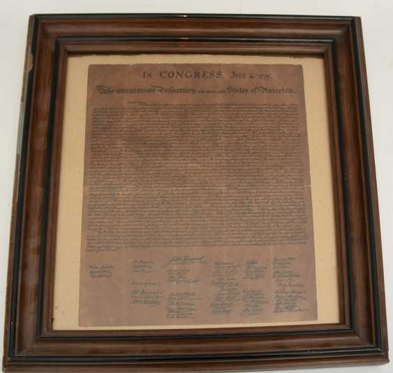 """DECLARATION OF INDEPENDENCE""; Congress paper Reprint/copy, behind glass framed, 19. Century - photo 2"