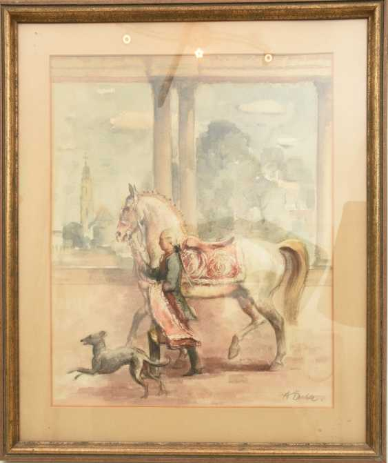 """ADOLF DAHLE,""""kept In check"""", watercolor on paper, behind glass, framed and signed - photo 1"""