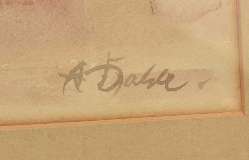 """ADOLF DAHLE,""""kept In check"""", watercolor on paper, behind glass, framed and signed - photo 3"""