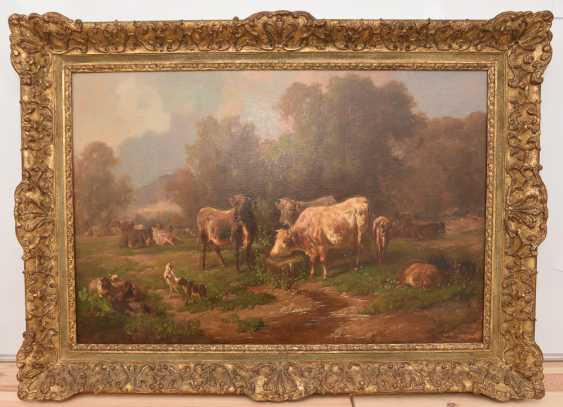 "LOUIS REINHARDT,"" Grazing cows"", Oil on canvas, framed and signed - photo 1"