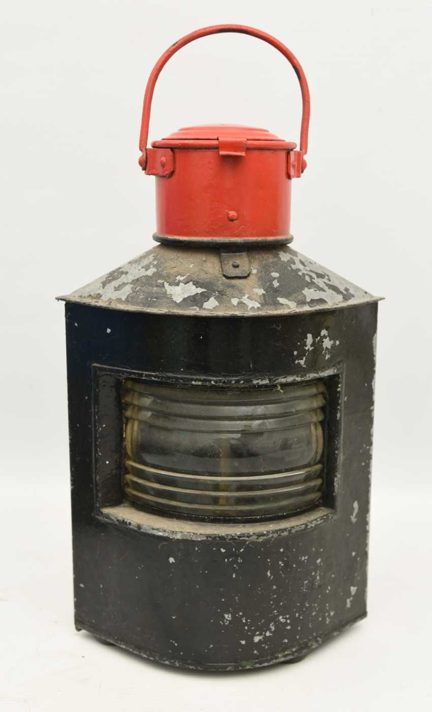 TRAIN - signal lantern, painted tin/glass/brass, 1900's - photo 1