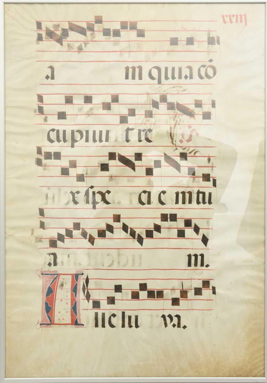 """CHORALE-PAGE"", ink on animal skin, German Empire 16. Century - photo 1"
