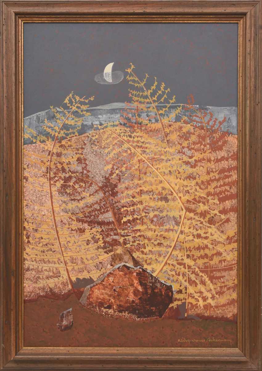 "RUDOLF-WERNER ACKERMANN: ""gold fern"", Oil on chipboard, framed and signed - photo 1"