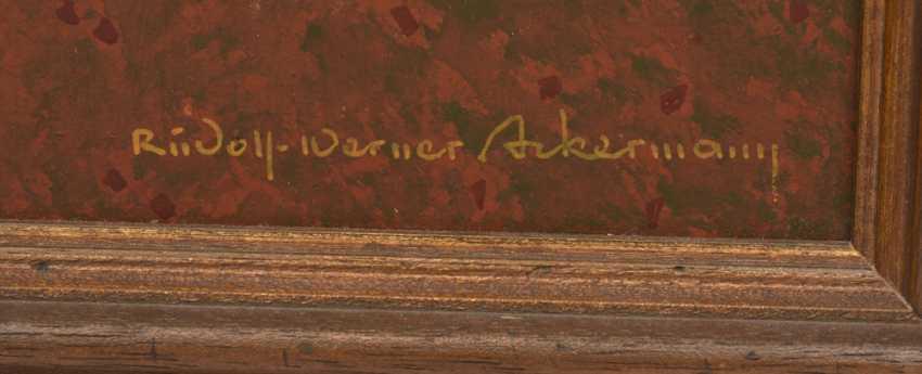"RUDOLF-WERNER ACKERMANN: ""gold fern"", Oil on chipboard, framed and signed - photo 2"
