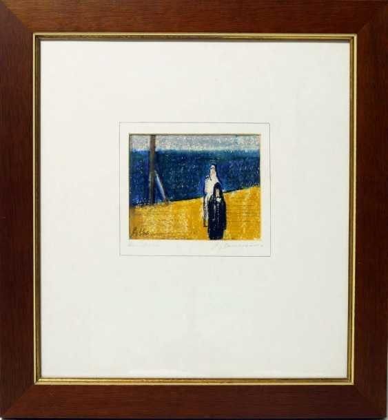 "FRITZ KOHL, URBAN.""On sea"", crayon on paper, behind glass, framed and signed - photo 1"