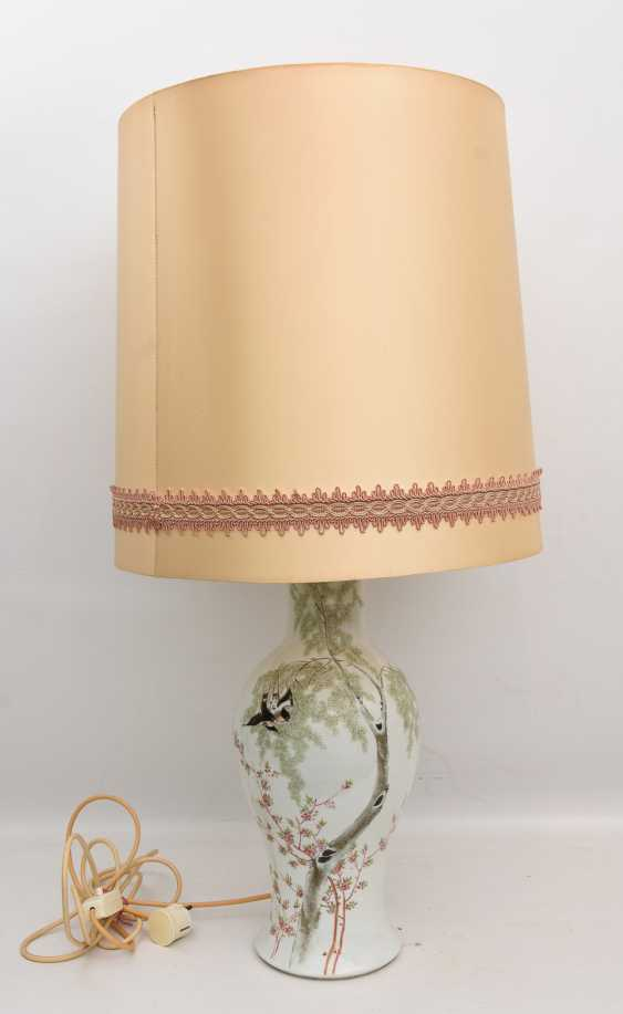 Floor lamp, porcelain/cloth/cardboard, 20. Century - photo 1