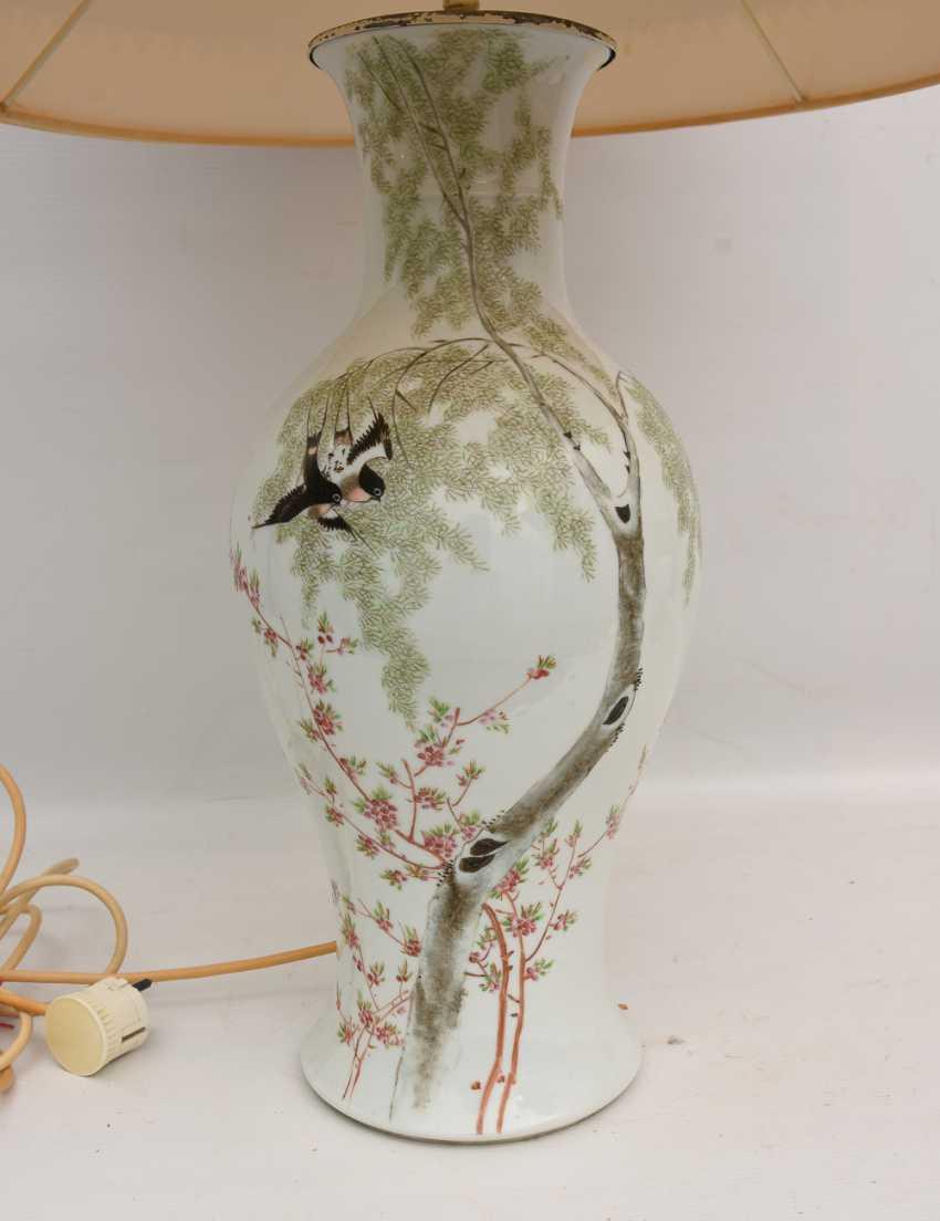 Floor lamp, porcelain/cloth/cardboard, 20. Century - photo 2