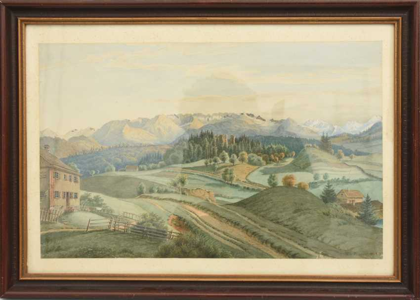 """W. VINCENTE,""""In the Bernese Oberland"""", watercolor on paper, behind glass framed, signed and dated - photo 1"""