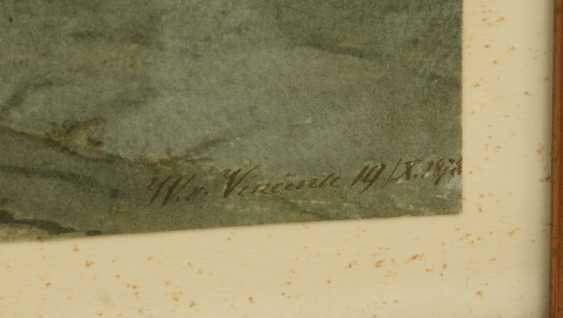 """W. VINCENTE,""""In the Bernese Oberland"""", watercolor on paper, behind glass framed, signed and dated - photo 3"""