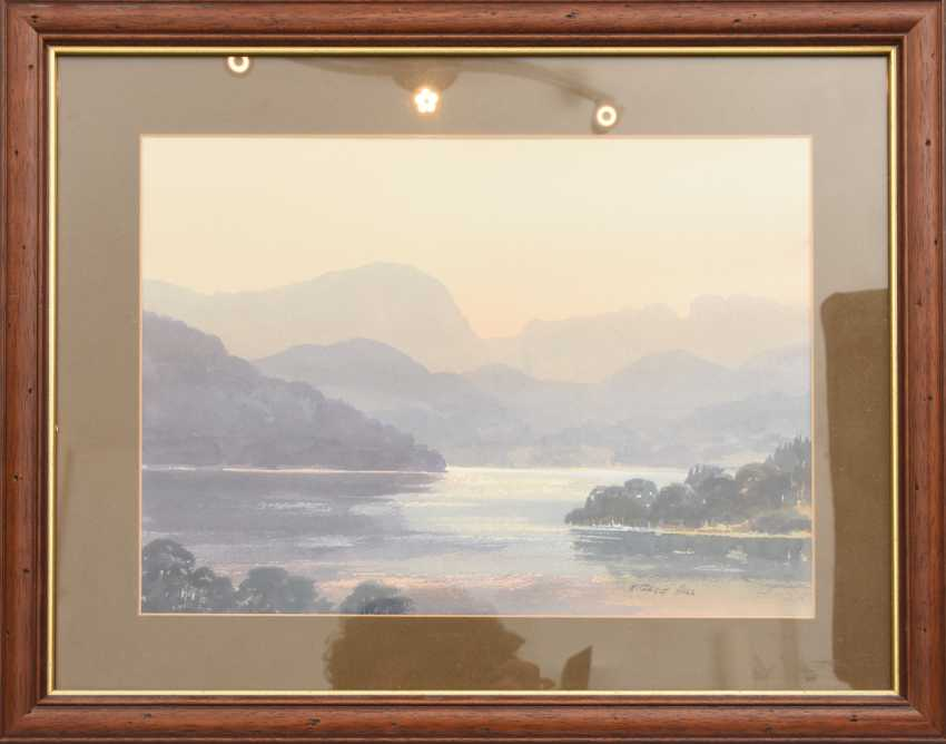 """E. GRIEG HALL"""" View from South Lodge"""",watercolour/water color on paper, behind glass in the passe-partout framed and signed - photo 1"""