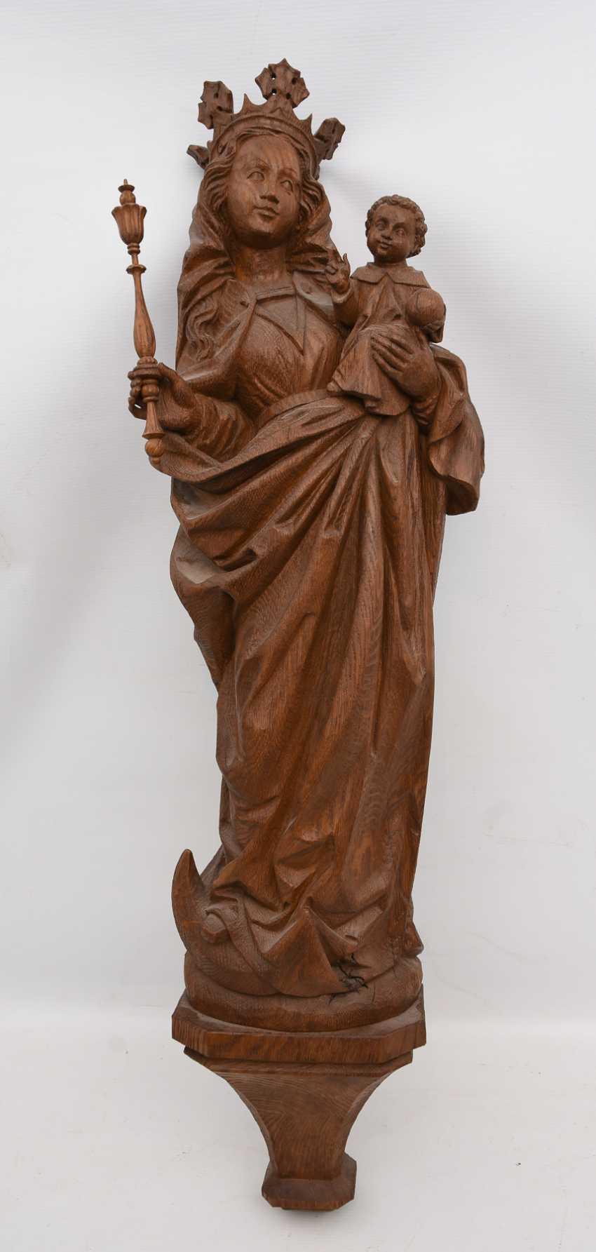"Bracket figure ""MADONNA"" beschnitztes wood, monogrammed, Germany 20. Century - photo 1"
