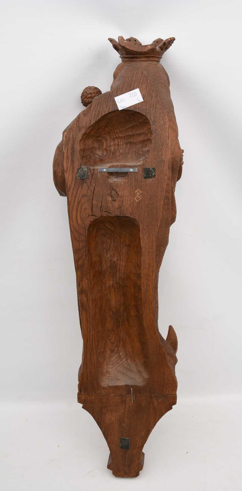 "Bracket figure ""MADONNA"" beschnitztes wood, monogrammed, Germany 20. Century - photo 3"
