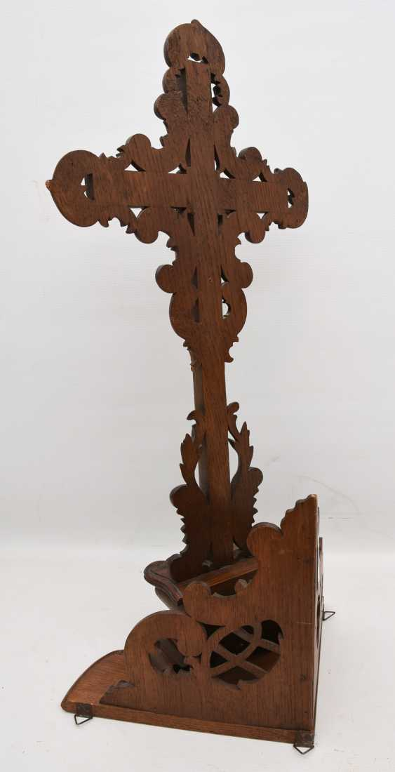 CRUCIFIX, WITH a corner booth, beschnitztes wood turned, 20. Century - photo 3