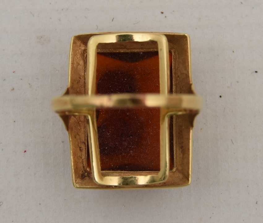 RING WITH AMBER, 585 yellow gold, stamped, 20. Century - photo 2