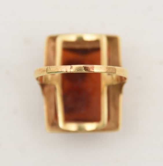 RING WITH AMBER, 585 yellow gold, stamped, 20. Century - photo 3