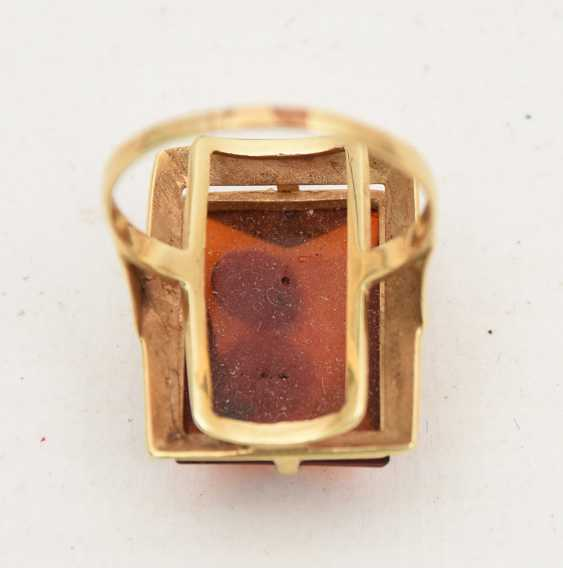 RING WITH AMBER, 585 yellow gold, stamped, 20. Century - photo 4