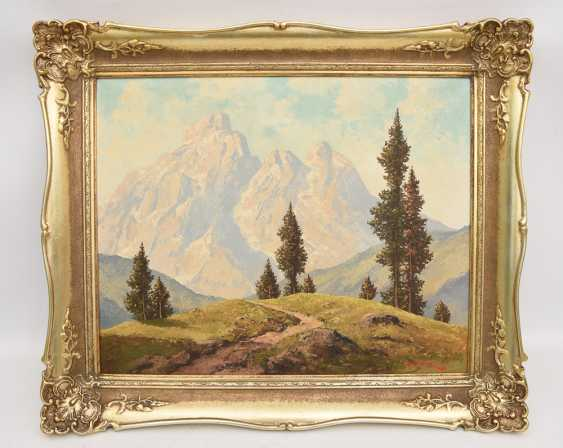 "PAUL HALLER:""Allgäuer Säuling"", Oil on canvas, framed and signed - photo 1"
