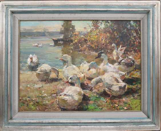 "FRIEDRICH KLAIBERG:""ducks on lake"", Oil on canvas, framed and signed - photo 1"