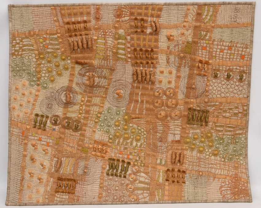 KNÜPFBILD/wall carpet, felt,wool, signed,yarn, and dated - photo 2