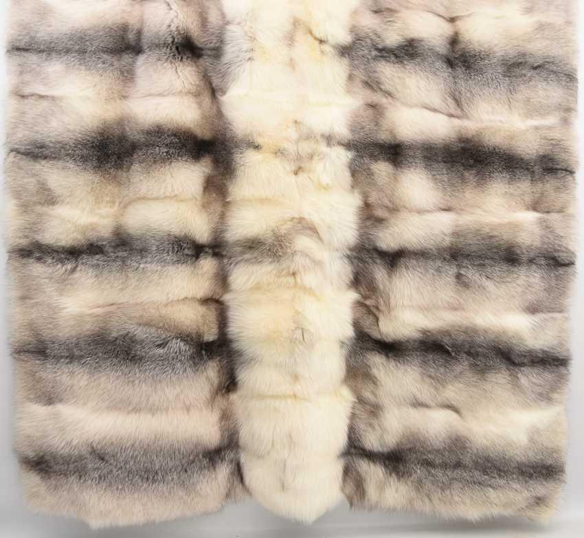 Fur blanket, raccoon dog/silk fabric, 21. Century - photo 1