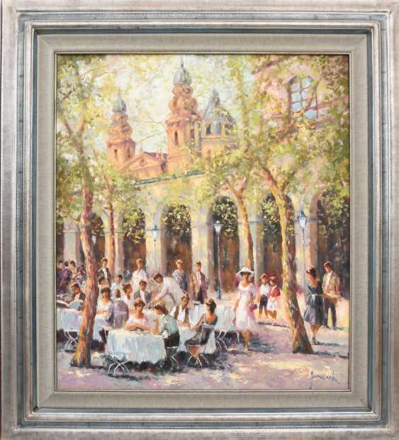 "CHRISTIAN JERECZEK:""Summer street cafe scene,"" Oil on canvas, framed and signed - photo 1"