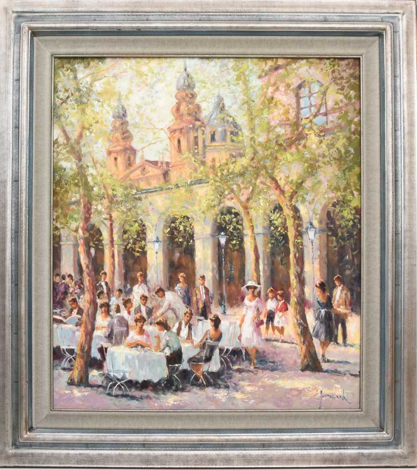 "CHRISTIAN JERECZEK:""Summer street cafe scene,"" Oil on canvas, framed and signed - photo 2"