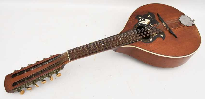 Gold tone MANDOLIN, with inlaid, Germany 1. Half of the 20. Century - photo 1