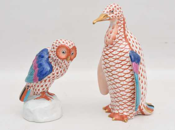 HEREND PORCELAIN : TWO animal figures, painted/glazed equipped/gold, Hungary at the end of 20. Century - photo 1